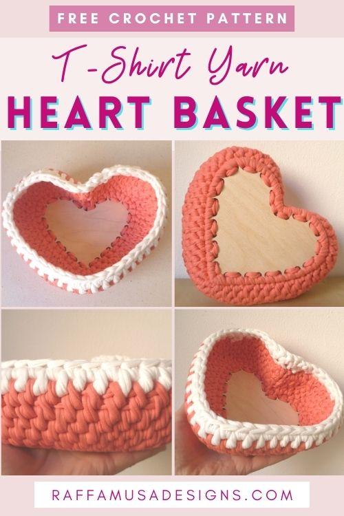 Free Heart Basket Crochet Pattern - Perfect Valentine's Gift - Raffamusa Designs