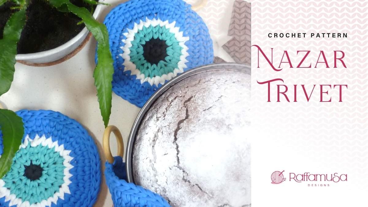 Nazar Potholder - T-Shirt Yarn Trivet - Free Crochet Pattern - Raffamusa Designs