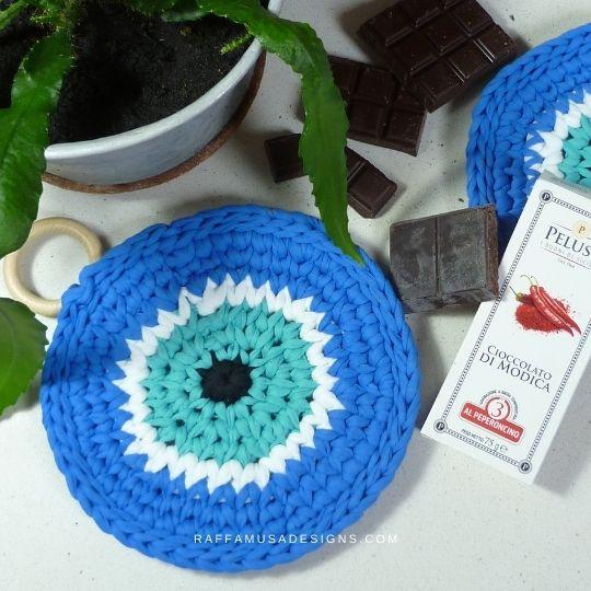 Nazar Potholder - Free Crochet Pattern - Raffamusa Designs