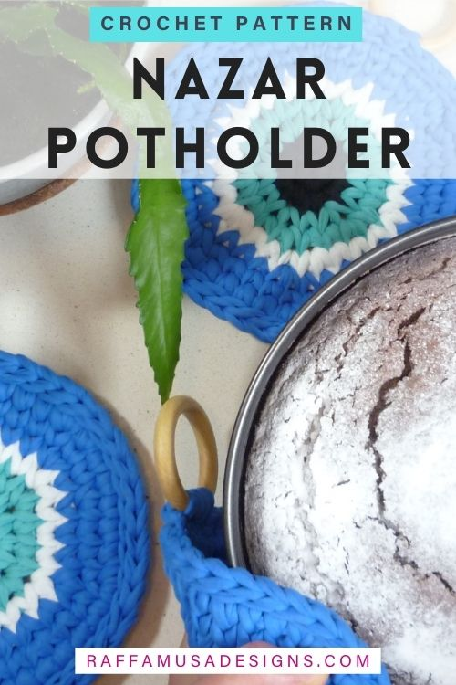 T-shirt Yarn - Nazar Potholder - Free Crochet Pattern - Raffamusa Designs