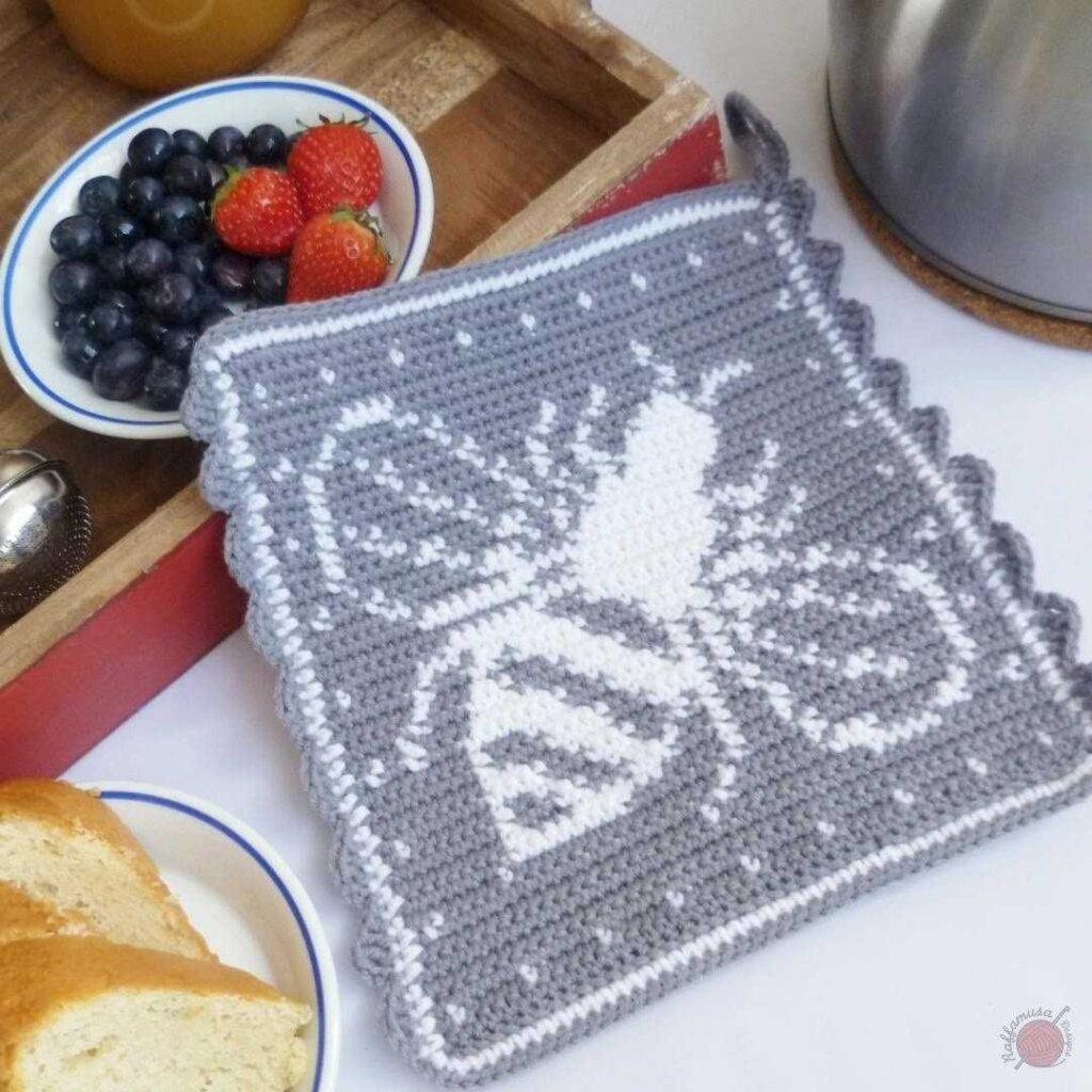 Tapestry Crochet Bee Potholder