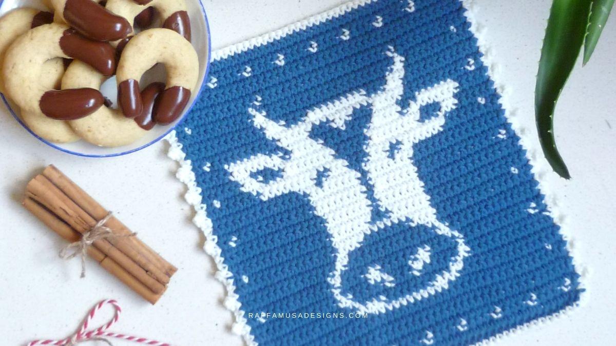 Crochet Cow Potholder - Free Pattern - Raffamusa Designs