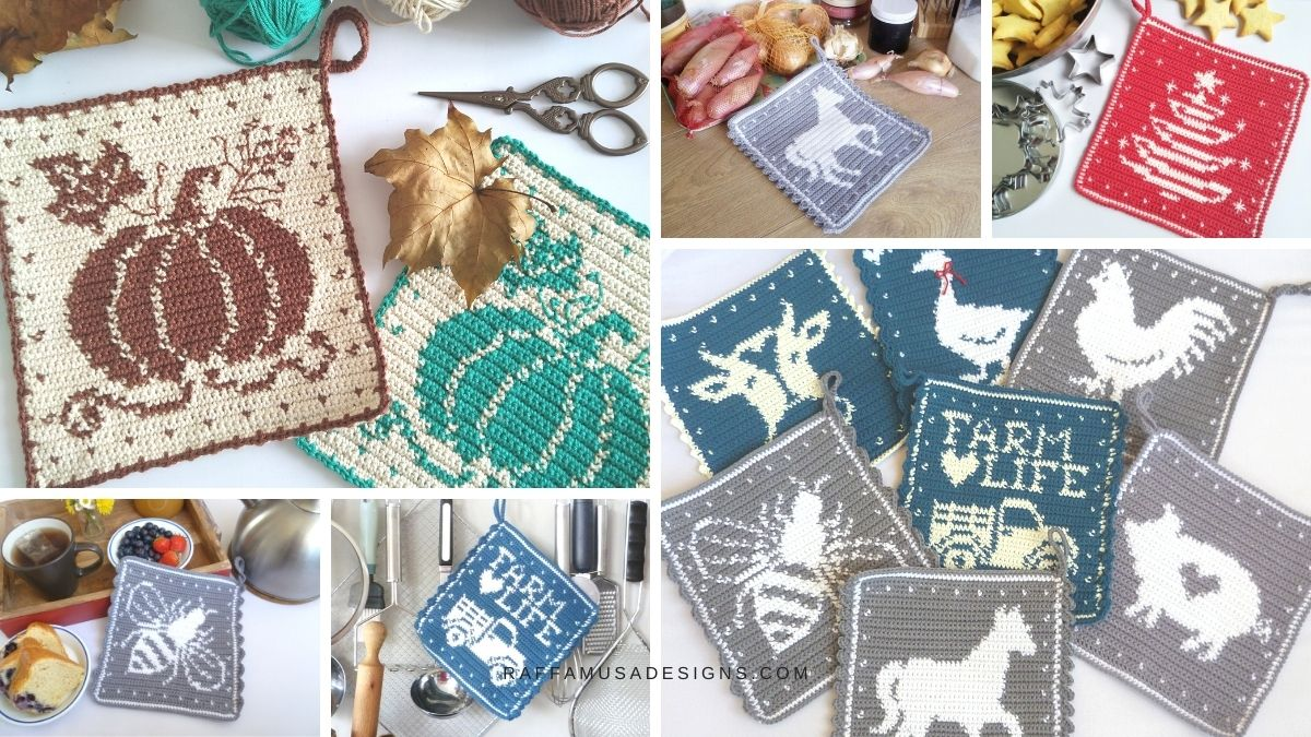 Farmhouse Collection of Tapestry Crochet Potholders - Free Patterns - Raffamusa Designs