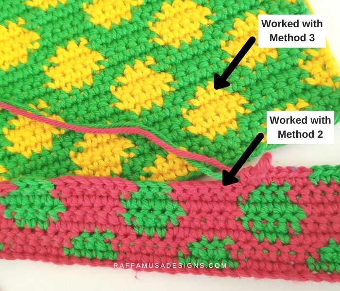 Comparison of different methods for changing color on the wrong side - Tapestry Crochet Tutorial - Raffamusa Designs