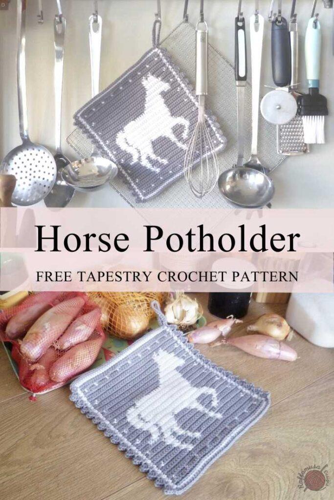Tapestry Crochet Horse Potholder - Free Crochet Pattern