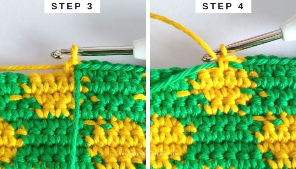 Tapestry Crochet Tutorial - How to Invisible Change on the Wrong Side - Method 3 - Raffamusa Designs