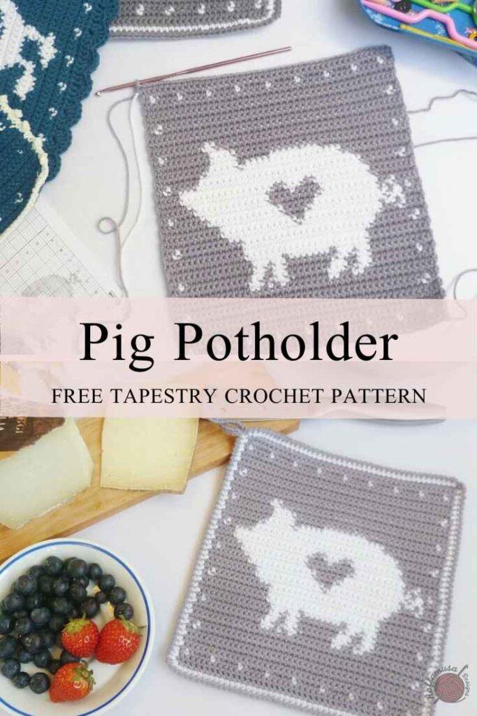 Tapestry Crochet Pig Potholder - Free Pattern