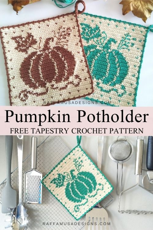 Pin the free pattern of the Tapestry Crochet Pumpkin Potholder for later!