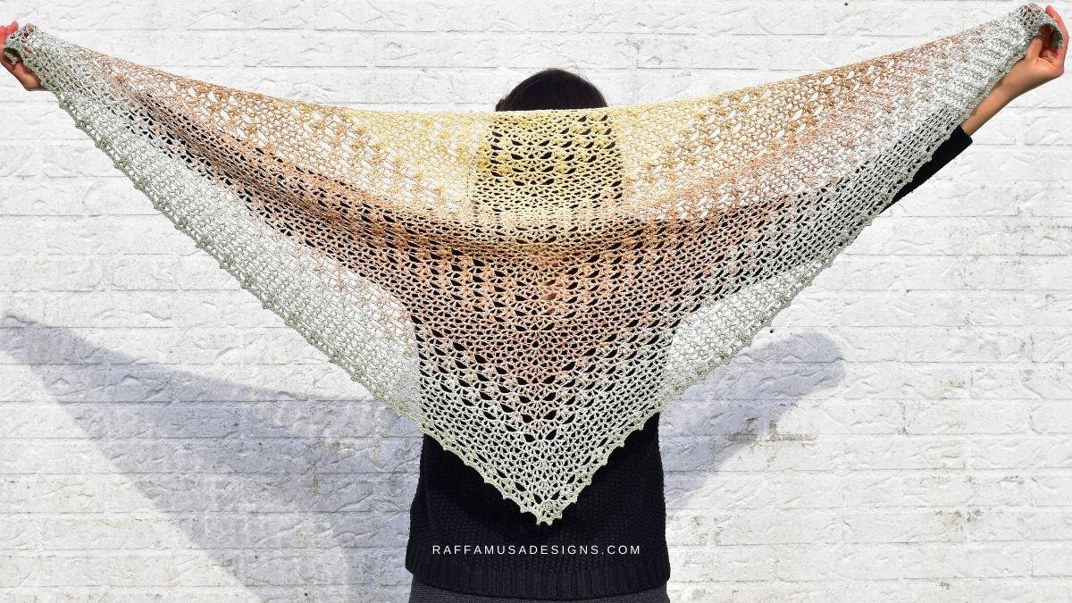 The Proserpina V-Stitch Triangle Shawl - Free Crochet Pattern - Raffamusa Designs