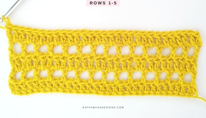 Triangles and Cones Crochet Lace Stitch Tutorial - Rows 1-5 - Raffamusa Designs