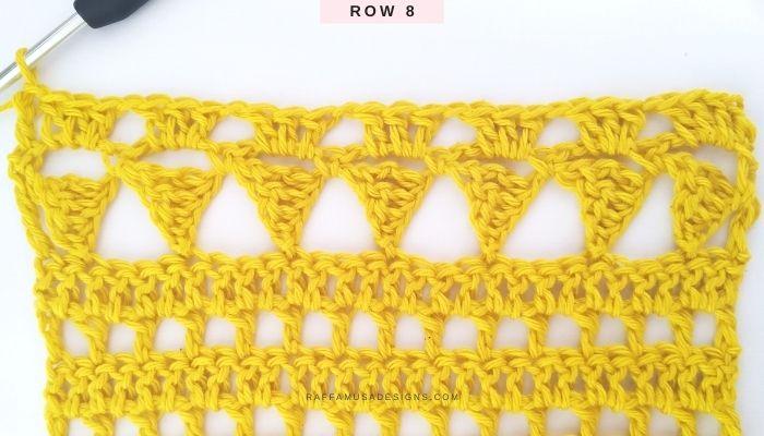 Triangles and Cones Crochet Lace Stitch Tutorial - Row 8 - Raffamusa Designs