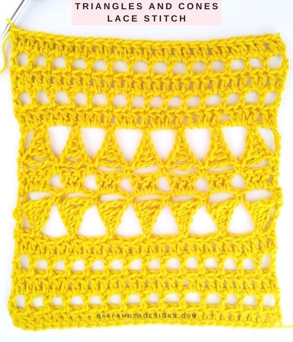 Triangles and Cones Crochet Lace Stitch - Free Tutorial - Raffamusa Designs