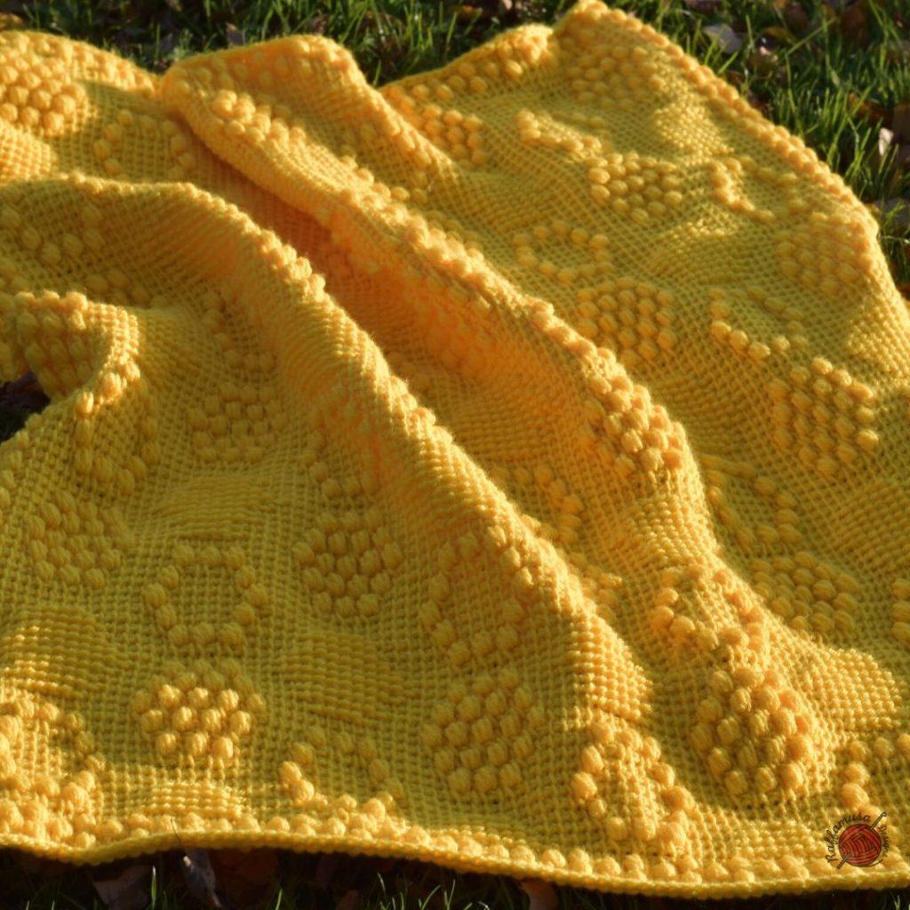 Tunisian Crochet Beehive Baby Blanket