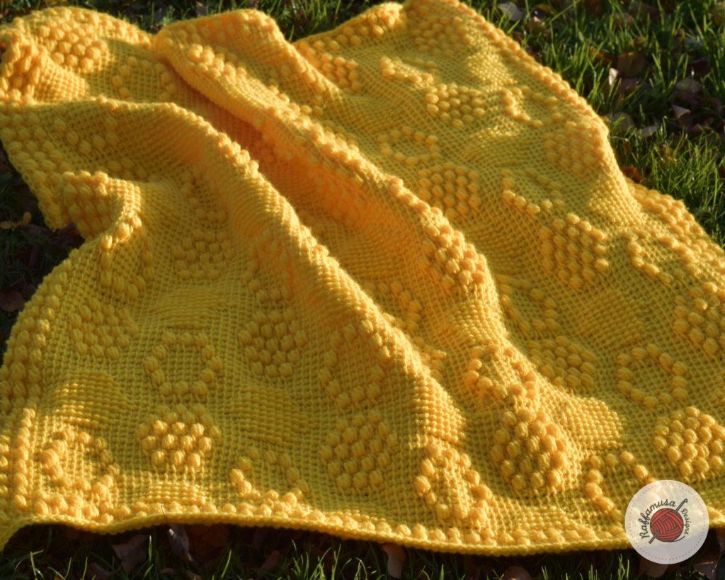 Tunisian Beehive Baby Blanket - Free Crochet Pattern