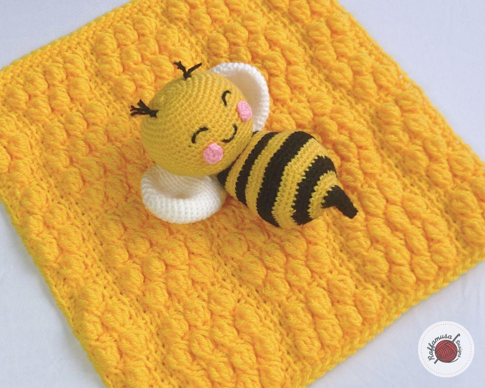 Tunisian Crochet Beehive Lovey, Free Pattern