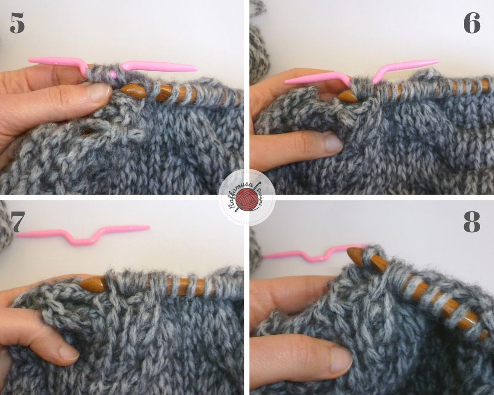 Tunisian crochet right-leaning cable, part 2