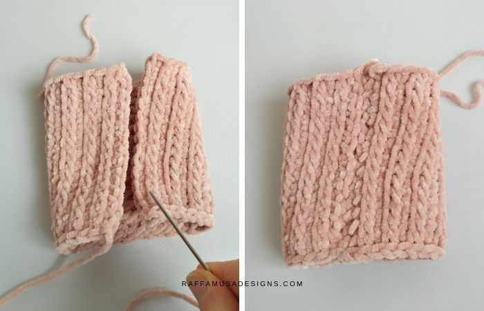 Seam the two short sides of your crochet piece.