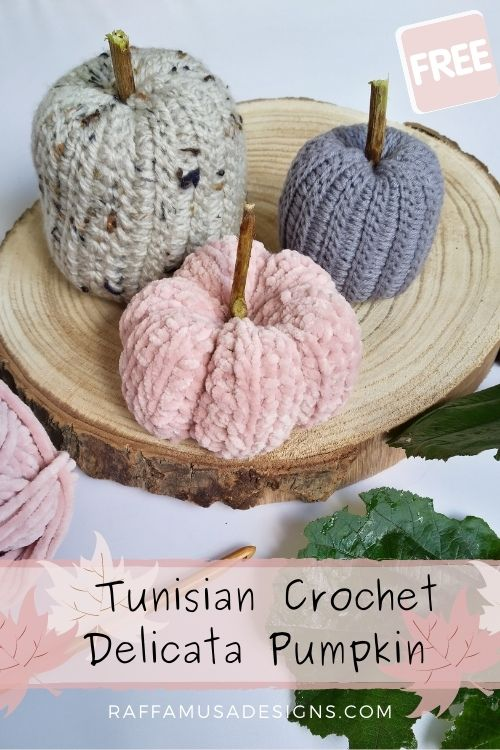 Pin the free crochet pattern of the Tunisian crochet Ribbed Pumpkin to your favorite Pinterest board