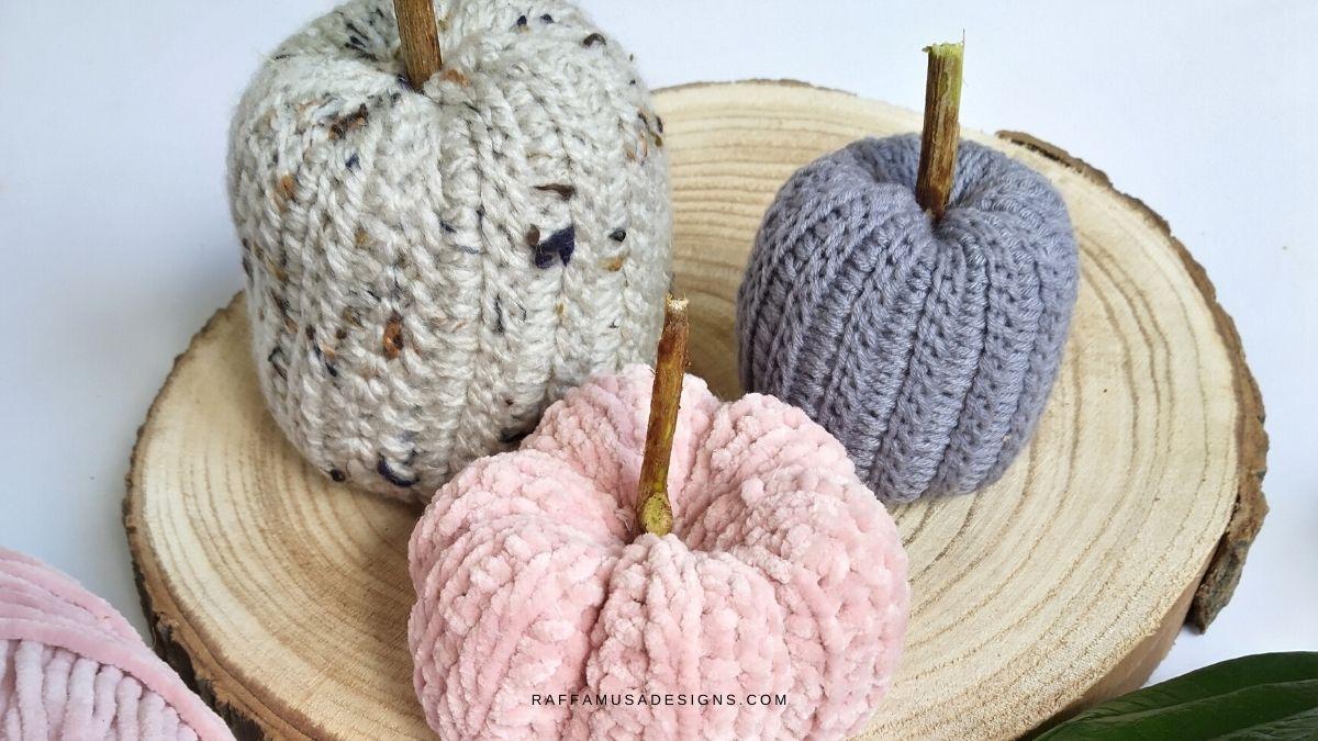 Tunisian crochet Ribbed Pumpkin - Raffamusa Designs