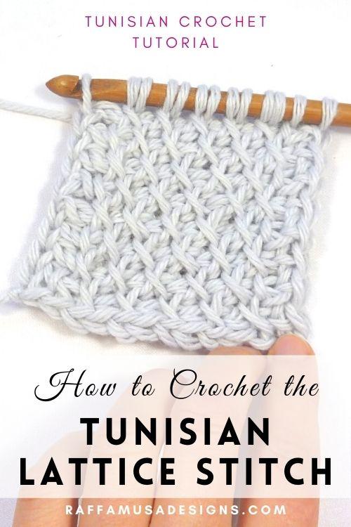 How to Crochet the Tunisian Diagonal Lattice Stitch - Free Tutorial - Raffamusa Designs