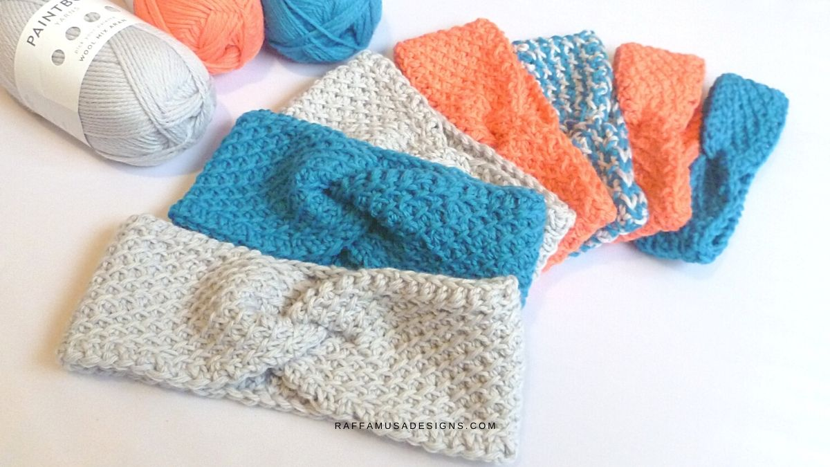 Tunisian Crochet Diagonal Lattice Headband - Free Pattern - Raffamusa Designs