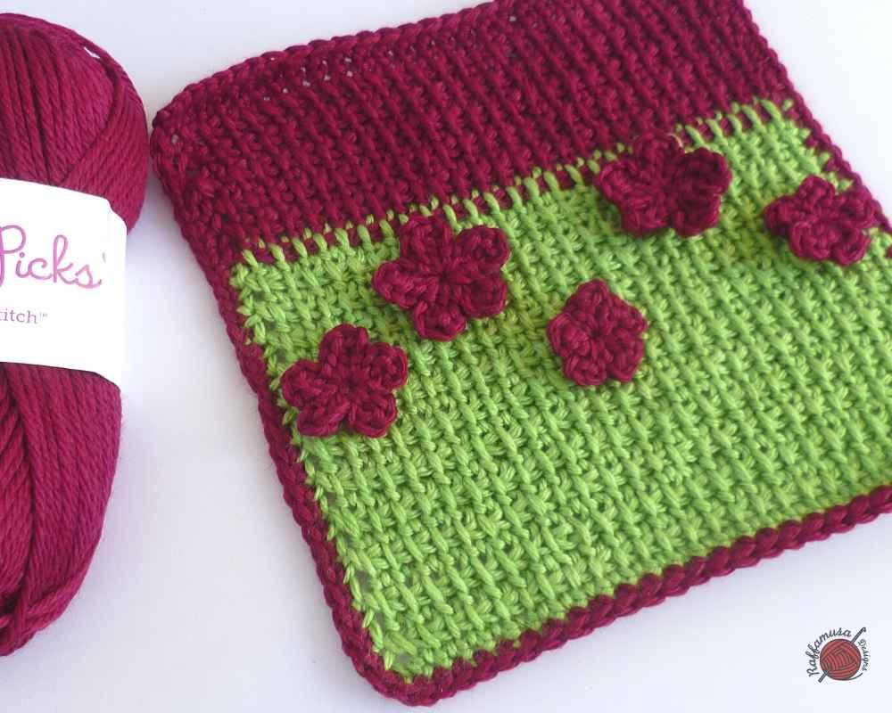 Tunisian Crochet Extended Stitch Tutorial and Square Pattern - RaffamusaDesigns