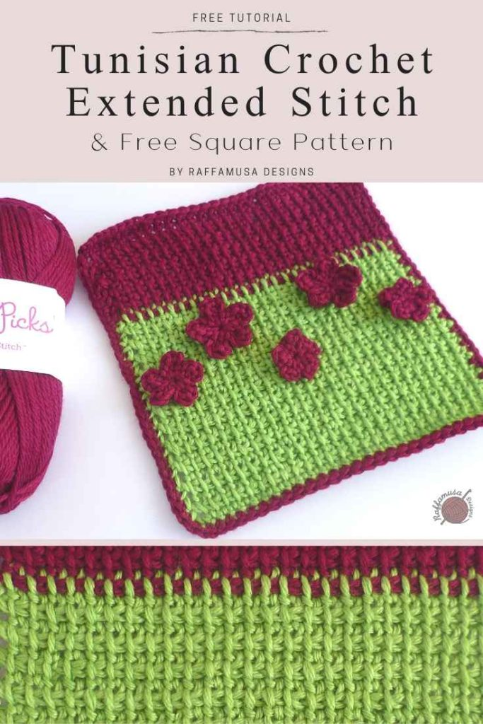 Tunisian Crochet Extended Stitch Square - Free Pattern and Tutorial