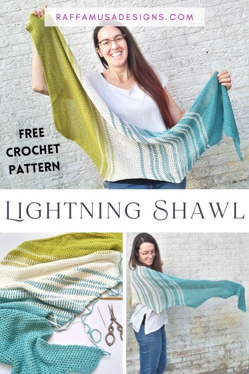 Tunisian Crochet Lightning Shawl with DK Weight Yarn - Free Pattern - Raffamusa Designs