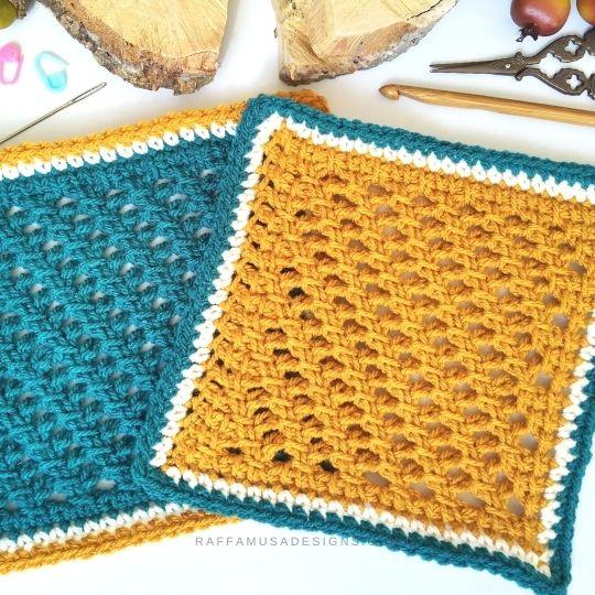 Garden Trellis Afghan Square - Free Tunisian Crochet Pattern - Raffamusa Designs