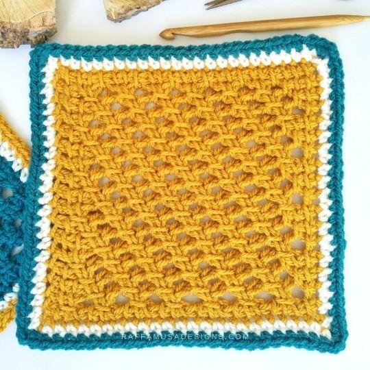 Tunisian Crochet Garden Trellis Square - Free Pattern and Tutorial - Raffamusa Designs