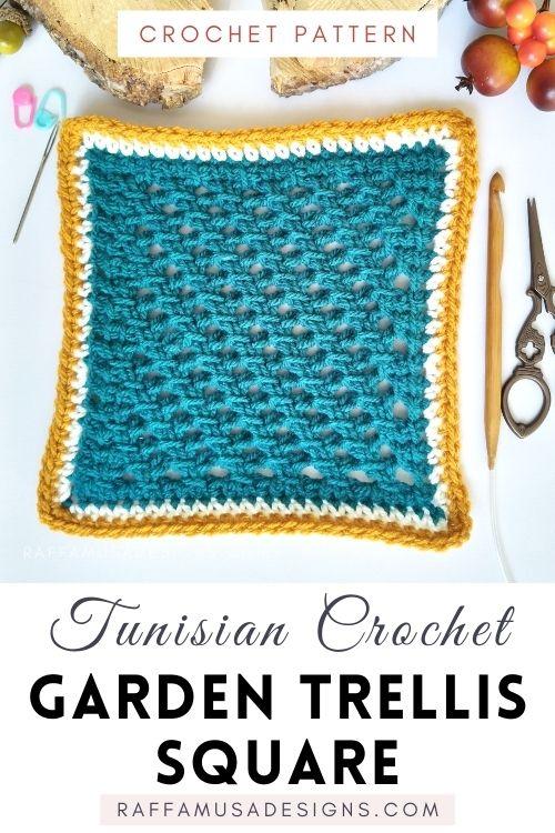 Tunisian Crochet Garden Trellis Square - Free Afghan Block Pattern - Raffamusa Designs