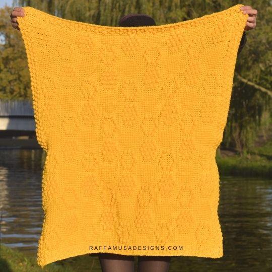Tunisian crochet Honeycomb Baby Blanket - Raffamusa Designs