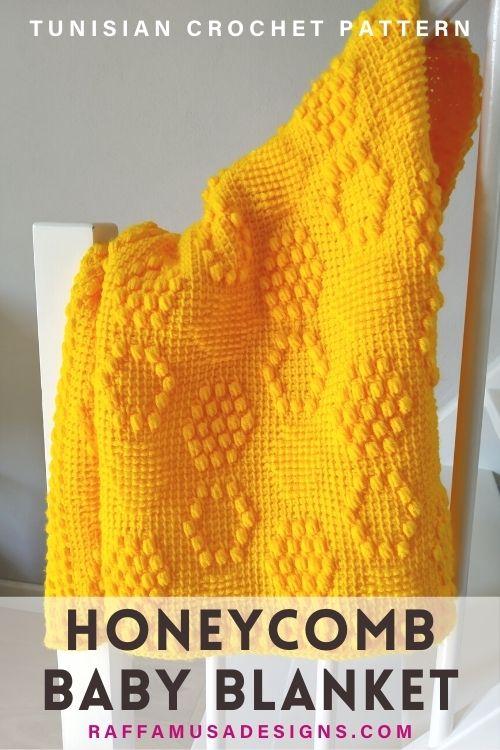 Tunisian Crochet Honeycomb Beehive Baby Blanket - Raffamusa Designs