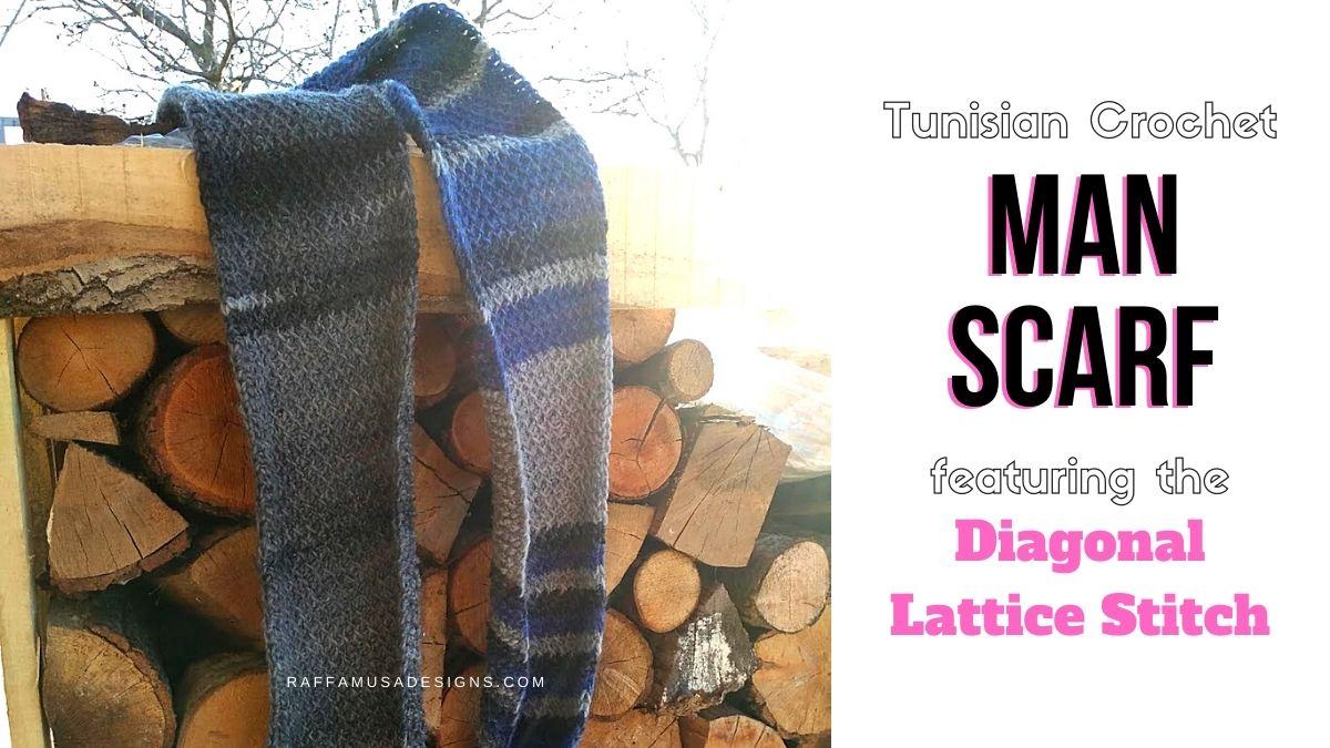 How to crochet a beginner Tunisian Crochet Man Scarf - Free Pattern - Raffamusa Designs