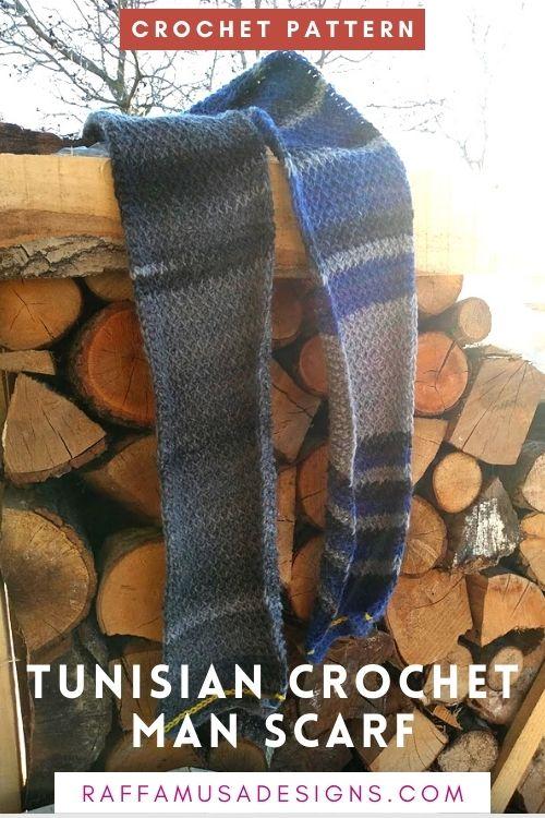 How to Crochet an Easy Tunisian Crochet Man Scarf - Free Pattern - Raffamusa Designs