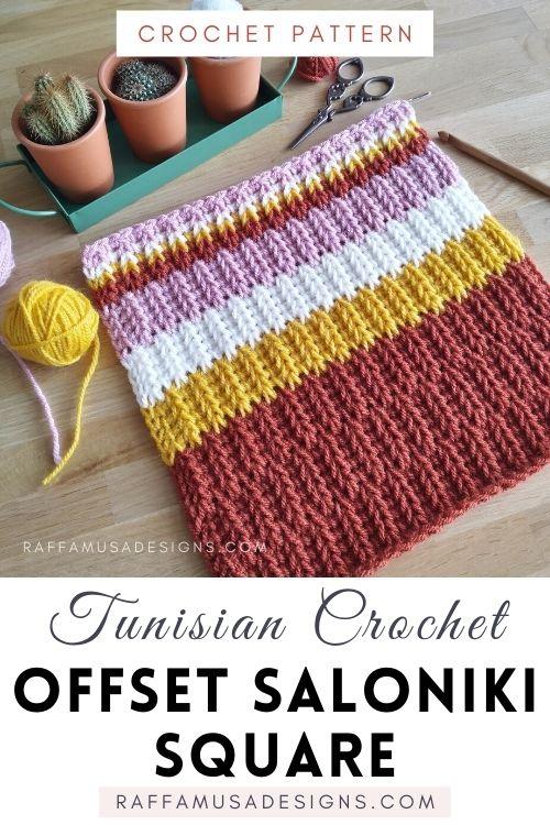 Tunisian crochet Offset Saloniki Square - Free Afghan Block Pattern - Raffamusa Designs