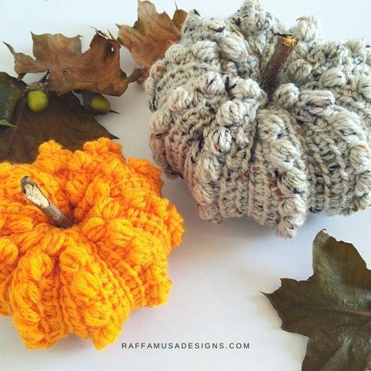 Tunisian Crochet Puffy Pumpkin - Free Pattern - Raffamusa Designs