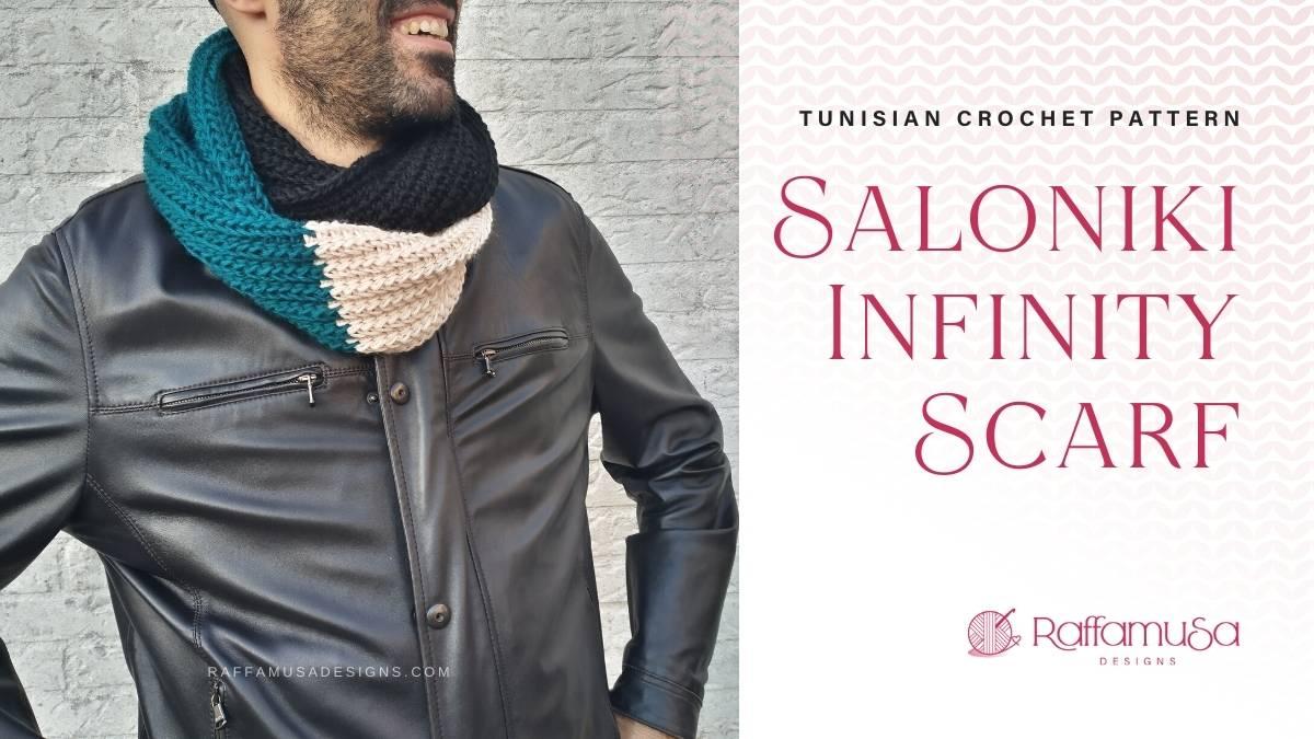 Tunisian Crochet Double Wrap Infinity Scarf for Men - Free Pattern - Raffamusa Designs