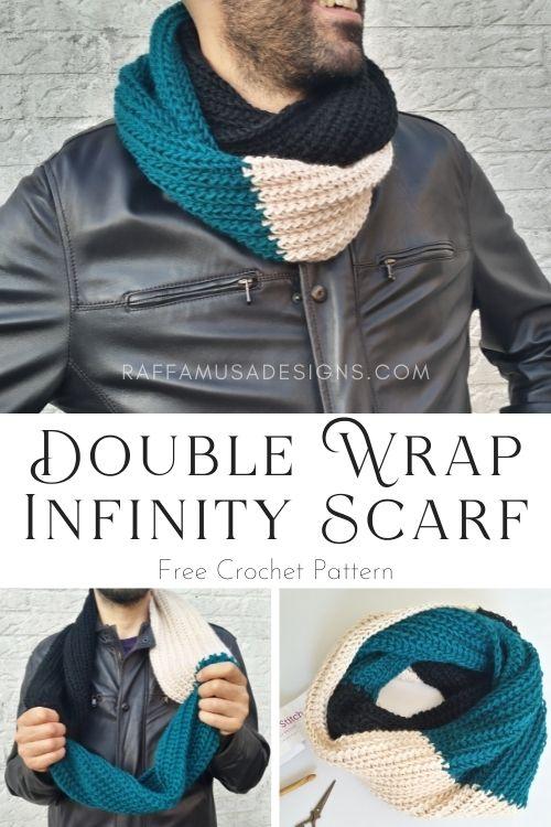 Tunisian crochet free Pattern - Saloniki Double Wrap Infinity Scarf - Raffamusa Designs