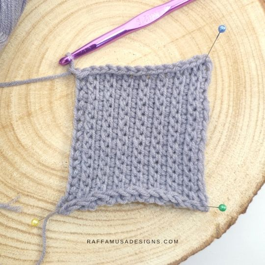 Tunisian Crochet Straw Stitch - Free Tutorial - Raffamusa Designs