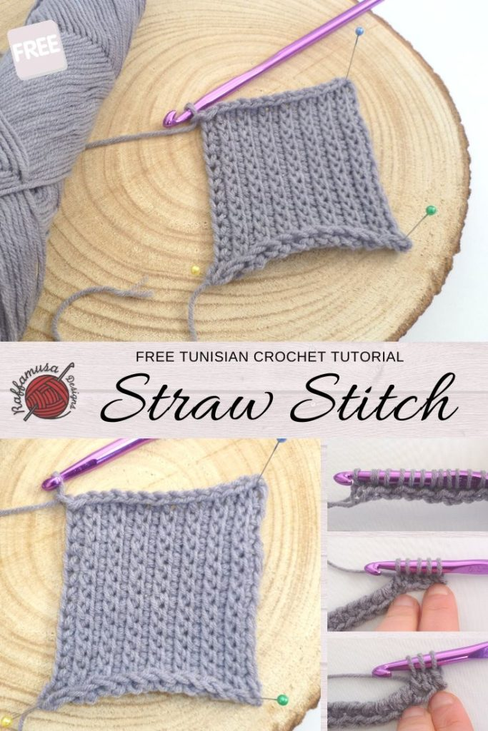 Tunisian crochet Straw Stitch - Free Stitch Tutorial - Raffamusa Designs
