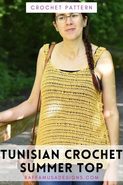 Free Tunisian Crochet Pattern - Summer Top - Sizes from XS to 5XL - Raffamusa Designs