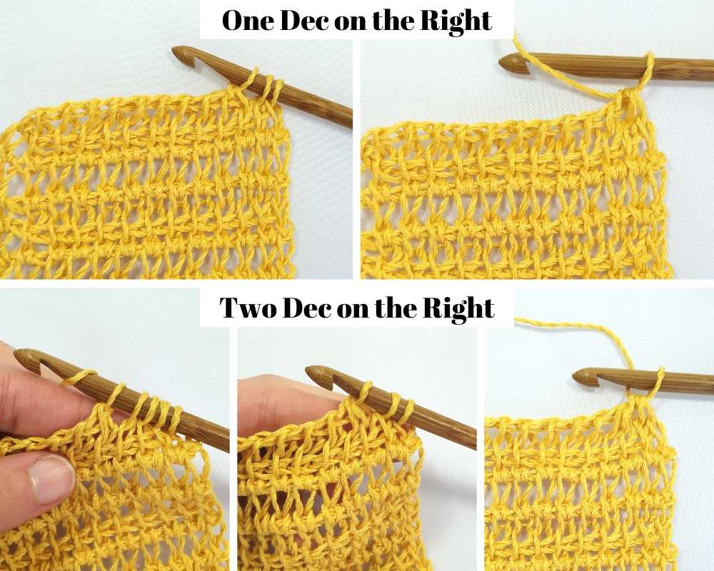 How to crochet a Tunisian crochet decrease on the right side of your work