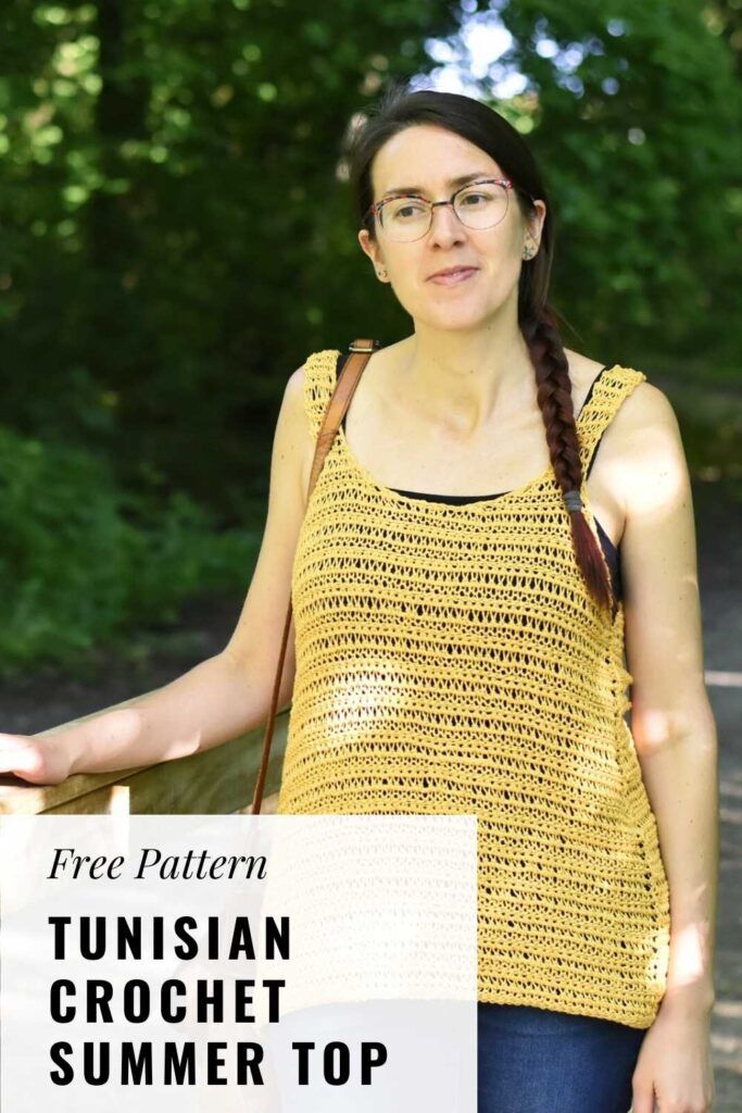 Do not forget to pin the free pattern of the Tunisian crochet summer top to your crochet Pinterest board