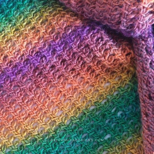 Tunisian Crochet Trellis Lace Scarf - Close up on Texture - Raffamusa Designs