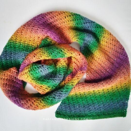 Tunisian Crochet Trellis Lace Scarf - Raffamusa Designs