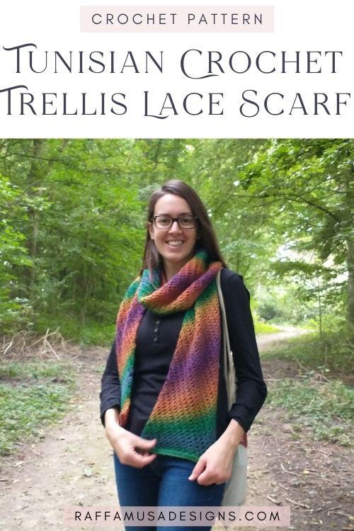 Tunisian Crochet Trellis Lace Scarf - Free Pattern - Raffamusa Designs