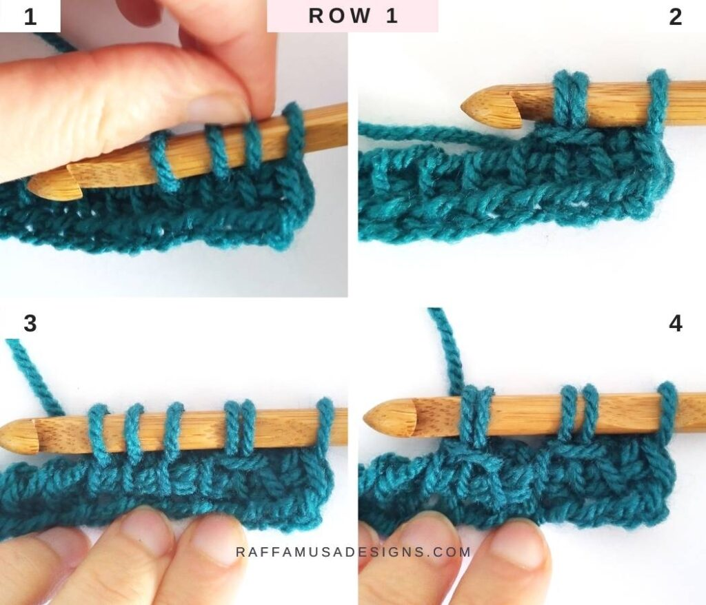 How to Crochet the Tunisian Trellis Stitch - Free Tutorial - Row 1 - Raffamusa Designs