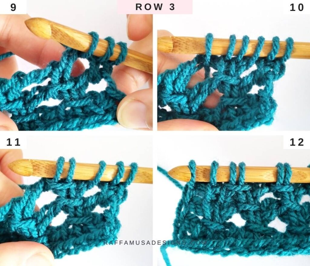 How to Crochet the Tunisian Trellis Stitch - Free Tutorial - Row 3 - Raffamusa Designs