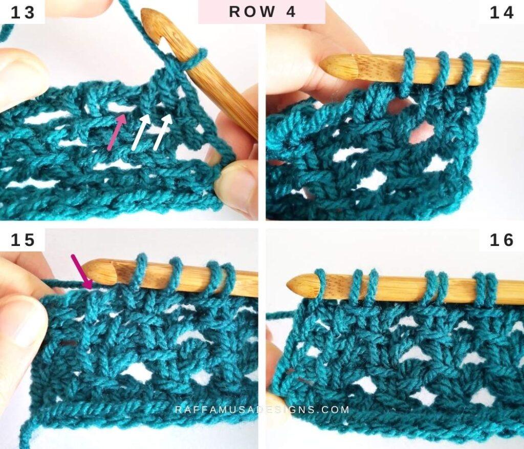 How to Crochet the Tunisian Trellis Stitch - Free Tutorial - Row 4 - Raffamusa Designs